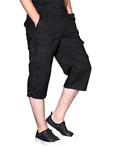 CRYSULLY Men's Relaxed fit Cotton Leisure Cargo Combat Work Shorts Straight Fit Twill Cargo Shorts Outdoor Wear Black