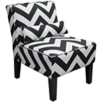 Skyline Furniture Armless Chair in Zig Zag Black and White