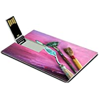 Luxlady 32GB USB Flash Drive 2.0 Memory Stick Credit Card Size Dirty paint brushes on canvas Shallow DOF IMAGE 37679446