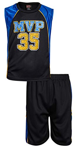 Mad Game Boys' 2-Piece Basketball Athletic Tank Top and Shorts Set, Black MVP, Size 5/6' ()