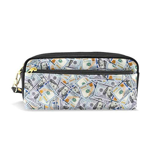 Pencil Case Large Capacity PU Leather Pen Bag Makeup Pouch Wallet Zipper Stationery Supplies Boys Girls Teenagers Women One Hundred Dollar Bills