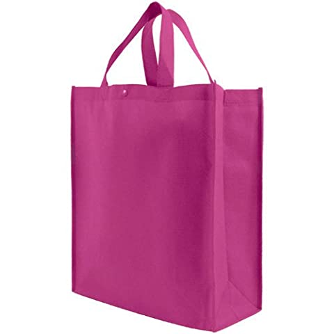 Reusable Grocery Tote Bag Large 10 Pack - Fuchsia - Eco Large Tote Bag