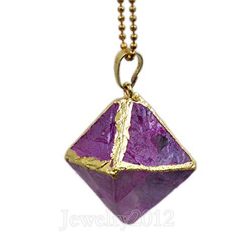 Necklace Set Fluorite (FidgetFidget Natural Gemstone Fluorite Rhombus Reiki Healing Pendant Necklaces Beads Gold Magenta Pendant + Gold Chain 5 Sets)