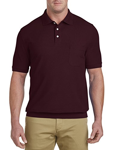 Banded Wine (Harbor Bay by DXL Big and Tall Pique Banded-Bottom Shirt, Wine 3XL)