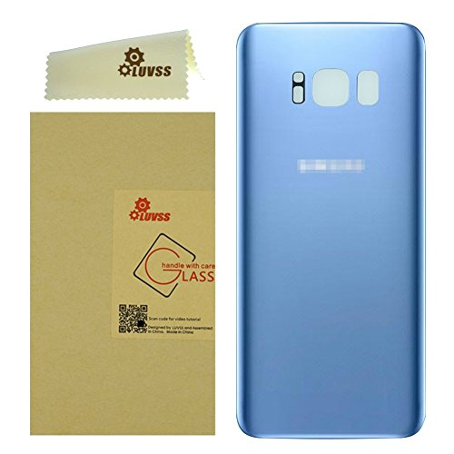 LUVSS New Back Glass Replacement for [Samsung Galaxy S8] G950 (All Carriers) Rear Cover Glass Panel Battery Door Housing [NOT for S8 Plus] (Blue)