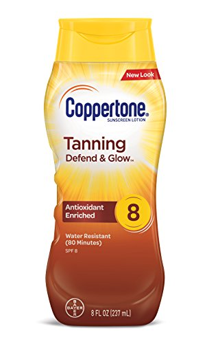 Price comparison product image Coppertone Tanning Defend & Glow Sunscreen With Vitamin E Lotion SPF 8, 8 Fluid Ounces
