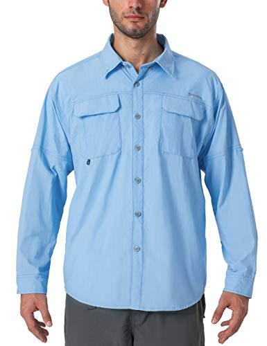 NAVISKIN Men's UPF 50+ Sun Protection Outdoor Long Sleeve Shirt Lightweight Quick-Dry Cooling Fishing Shirts Bluebell Size S
