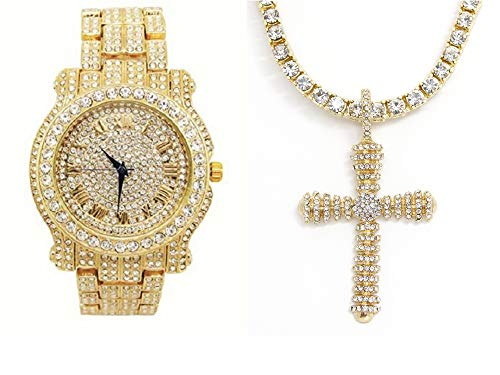 - Bling-ed Out Royalty I AM King Mens Watch with Bling-ed Out Tennis Necklace and Iced Out Raised Up Cross Pendent - L0504GN Raised Up Cross Gold