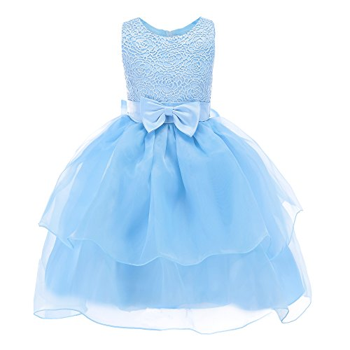 Fiream Flower Girls Dresses Tulle Sleeveless Princess Pageant Wedding Party Dresses(blue,5T/5-6YRS)