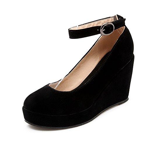 AllhqFashion Damen Blend-Materialien Schnalle Zehe Hoher Absatz Rein Pumps Schuhe Schwarz