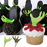 24 Zombie Hand Cupcake Pick Decorations