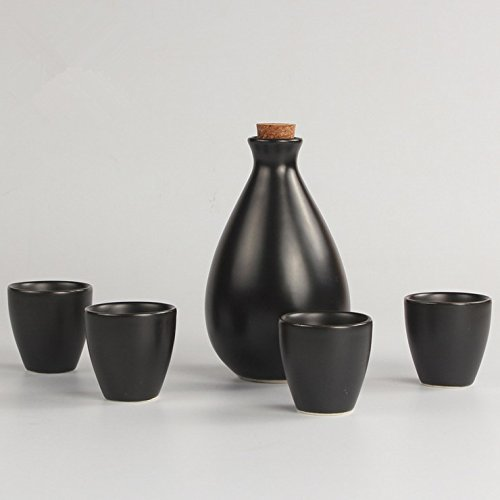 Miyare Japanese Style Ceramics Wine Set – 1 Sake Pot & 4 Cups, Six Different Patterns for Choice (Pure Black) - Sake Pot