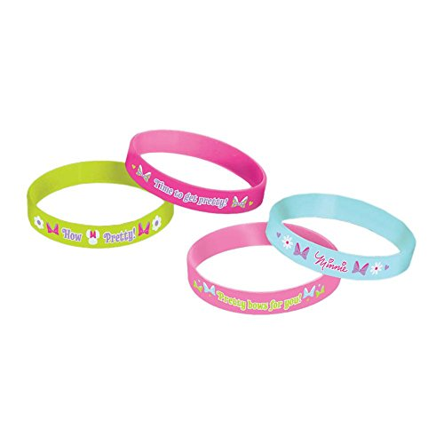 [Disney Minnie Mouse Rubber Bracelets Birthday Party Accessory Favour and Prize Giveaway (4 Pack), Multi Color, 2 1/2
