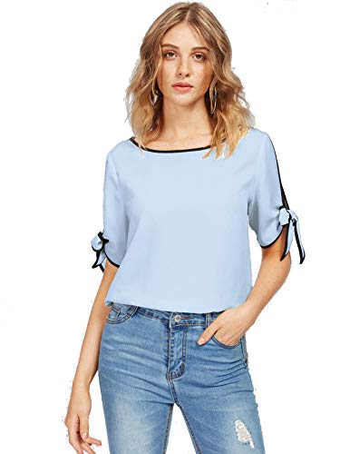 - Milumia Women Knot Split Sleeve Solid Boat Neck Summer Casual Blouse Top Turquoise S