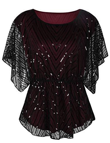 kayamiya Women's Sequin Blouse Glitter Beaded Party Wedding Evening Tunic Tops S/US8 Dark Burgundy