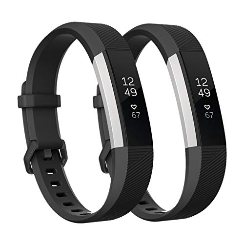 Fundro Replacement Bands Compatible with Fitbit Alta Bands/Alta HR, Newest Sport Strap Wristband with Secure Buckle for Women Men Boys Girls, 2- Pack(Black+Black,Large)