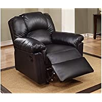 Black Color Modern Style Bonded Leather Recliner/Recker by Poundex