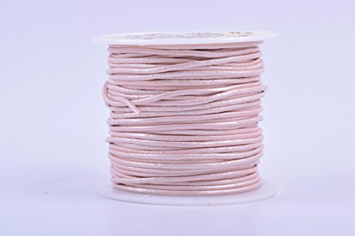 KONMAY 25 Yards Solid Round 1.5mm Metallic Rose Gold Genuine/Real Leather Cord Braiding String (1.5mm, Metallic Rose Gold) (Gold Leather Cord)