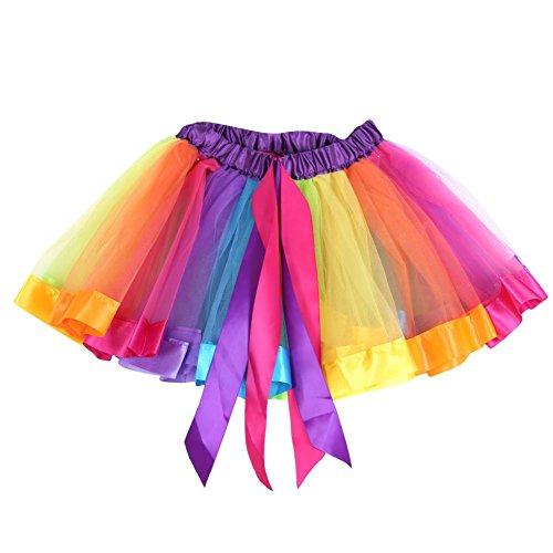 Norbi Kids Girls Rainbow Tutu Party Ballet Dance Wear Skirt (L (6-10Y)) (Cheap Dance Wear)