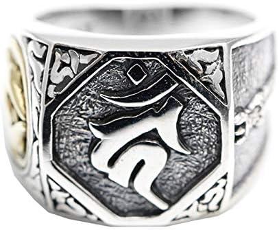 Beydodo 925 Silber Ring Männer Buddhist Mantra Freundschaftsringe Silber Ring Herren