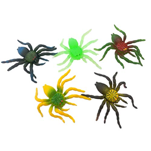 Amosfun 10Pcs Halloween Spider Tricky Props Soft Rubber Simulation Spider for Halloween Scary Decoration(Mixed Color) -