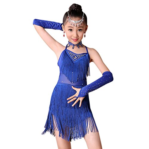 Fineser Kids Little Girl Dance Costumes Tassel Dancing Latin Rumba Salsa Cha Cha Tango Ballroom Dance Dress (Blue, 12-13 T) ()