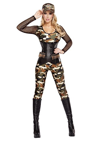Roma Costume Women's 4 Piece Lusty Lieutenant, Camouflage, (Camo Halloween Costumes For Womens)