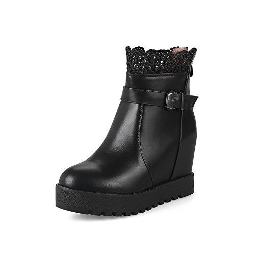 BalaMasa Womens Wedges Platform Buckle Urethane Boots ABL10114 Black