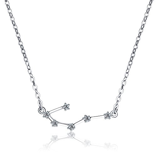 H.ZBRUJ Horoscope Astrology Pendant Necklace Cancer Zodiac Sign 925 Silver Constellation Choker for Women Best Friend Mother Wife Daughter Lover ()