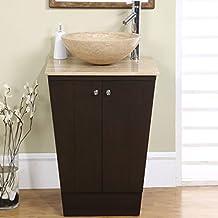 Silkroad Exclusive Travertine Stone Single Sink Vessel Bathroom Vanity with Storage Cabinet, 22-Inch