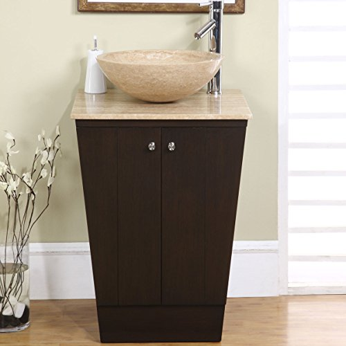 - Silkroad Exclusive Travertine Stone Single Sink Vessel Bathroom Vanity with Storage Cabinet, 22-Inch