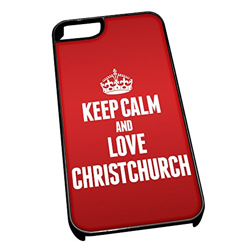Nero cover per iPhone 5/5S 0151Red Keep Calm and Love Christchurch