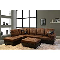 LifeStyle Microfiber and Faux Leather Right-Facing Sectional Sofa Set with Storage Ottoman, Brown