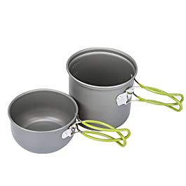 G4Free 2/4 PCS Camping Cookware Mess Kit Hiking Backpacking Picnic Cooking Bowl Non Stick Pot Knife Spoon Set