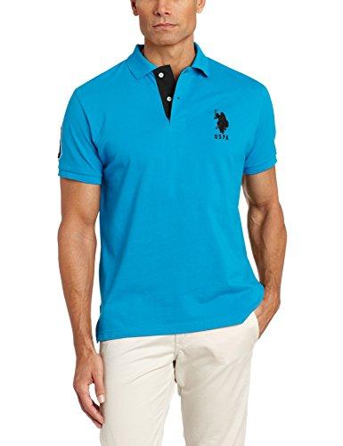 U.S. Polo Assn. Men's Slim Fit Pique Polo, Teal Blue/Black, X-Large