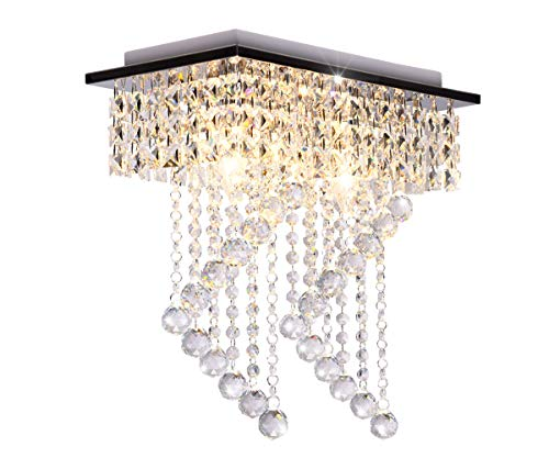 Surpars House Flush Mount 2-Light Crystal Chandelier, Length:15 Width:7.87 Height:15.3,Silver
