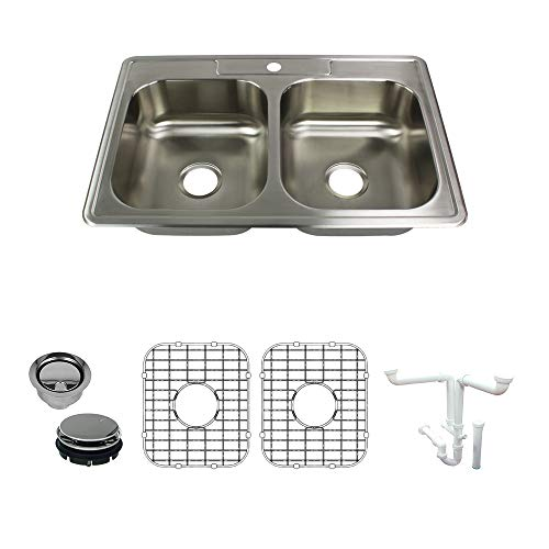 (Transolid K-STDE33227-1 Select 1-Hole Drop-in 50/50 Double Bowl 20-Gauge Stainless Steel Kitchen Sink Kit 33-in x 22-in x 7-in Brushed Finish)