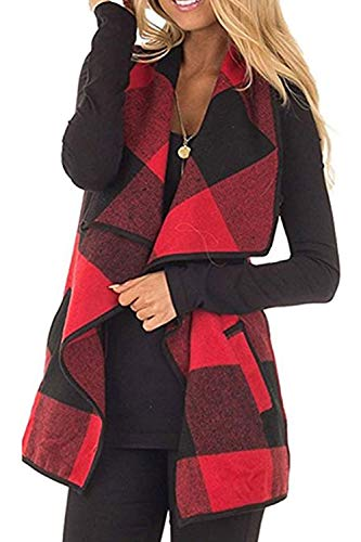 Womens Sleeveless Vest Plaid Hem Drape Open Front Cardigan (Red, XX-Large)