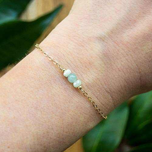 Dainty crystal aquamarine bracelet in 14k gold fill - 6