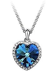 قلاده ذات حجر كرستال ازرق كبير على شكل قلب رقم الصنف 520 - 2