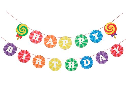 Sweet Rainbow- Birthday Banner   Happy Birthday Sign   Birthday Decorations   Photo Prop   Rainbow, Candy Shop Party   Kids party   Happy Birthday Banner   Rainbow Theme   Modern Party Decorations ()