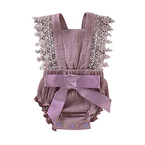 Newborn Kids Baby Girls Clothes Floral Outfits Set Lace Romper Suit Baby Headband (Purple 1, 6-12 Months(80))