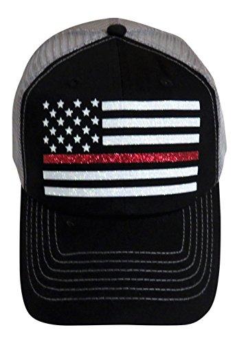 Glitter Thin Red Line/Flag on Black/Grey Trucker Cap Firefighter