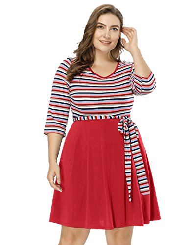 Hanna Nikole Women's Summer Elastic Stripe Crew Neck 3/4 Long Sleeve Patchwork Midi Flared Dress Red Size - Skirt Long Sleeve Spandex