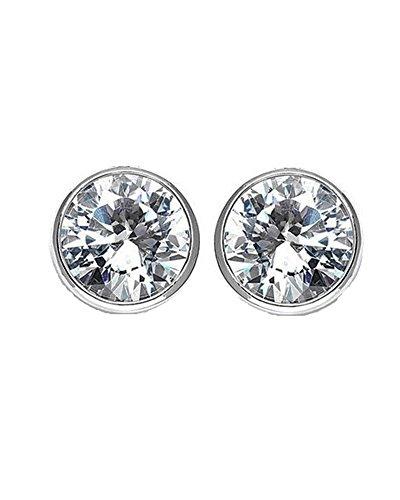 Round Cut CZ Bezel Sterling Silver Basket Set Stud Earrings 8mm by iJewelry2 (Image #1)