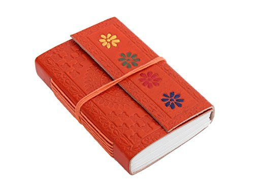 Beautiful Orange Leather Journal Pocket Travel Diary Flap Cover Record Book with Floral Motifs & Thread (Father's Day Preschool Crafts)