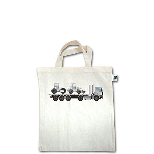 Andere Fahrzeuge - Tieflader Sattelauflieger Walze Radlader - Unisize - Natural - XT500 - Fairtrade Henkeltasche / Jutebeutel mit kurzen Henkeln aus Bio-Baumwolle