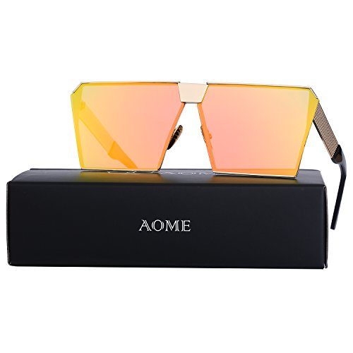 AOME Oversized Flat Top Sunglasses Square Metal Frame Mirrored Sunglasses (Gold&Orange, - Sunglasses Orange Mirrored