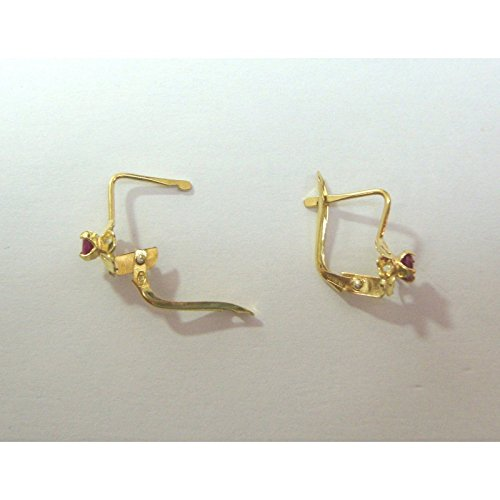 Damiata Bijoux-Boucles d'Oreilles Pendantes Femme-Or jaune (18 carats)-Oxyde de Zirconium Rouge