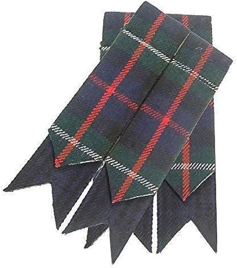 Scottish Kilt Hose Sock Flashes Black Tartan Garter Pointed//kilt Sock Flashes
